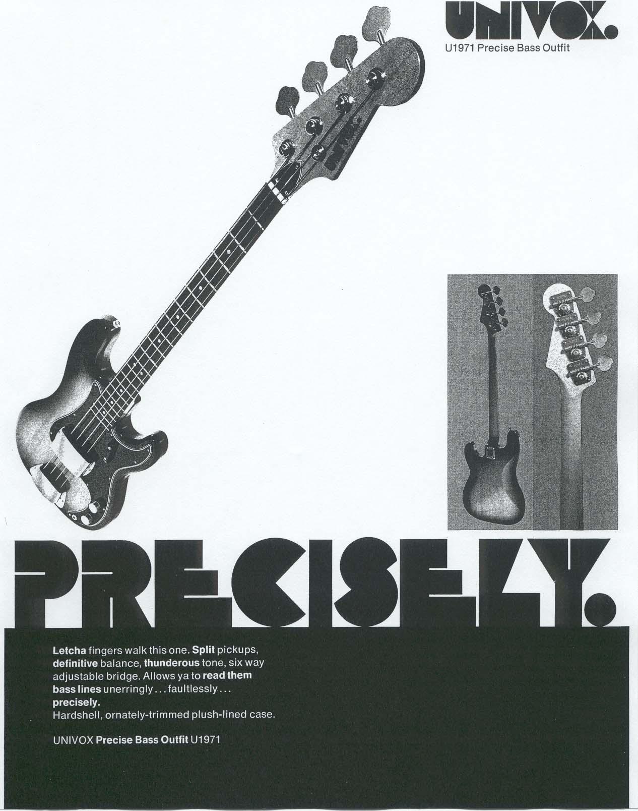 Univox Guitars Electric Guitar Wiring Schematics Catalogs And Manuals